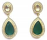 Jewelshingar Jewellery Fine Gold Plated 92.5 Sterling Silver Dangle & Drop Earrings For Girls ( 35525-sse-green )