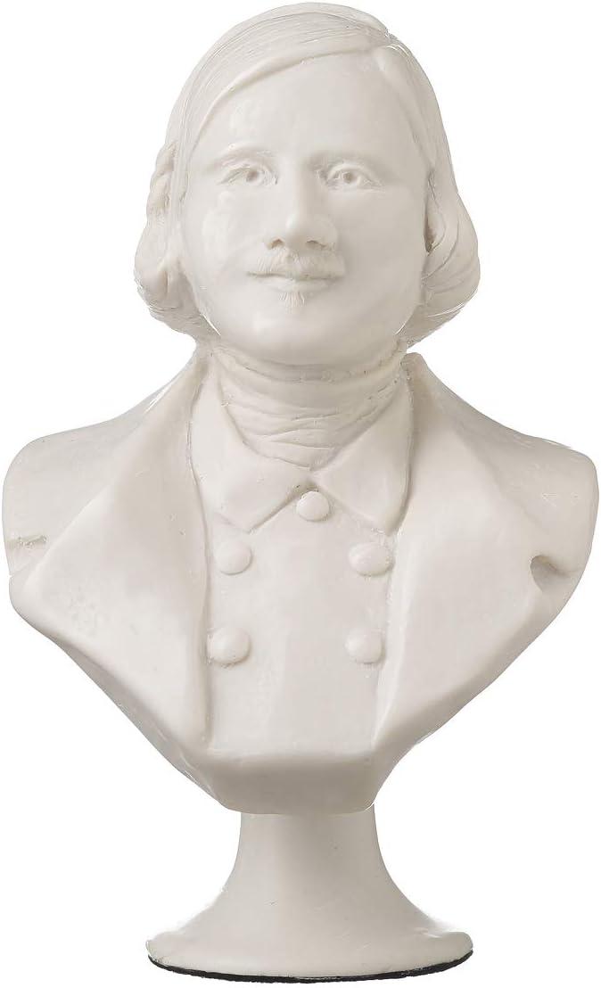 danila-souvenirs Russian/Ukrainian Writer Nikolai Gogol Marble Bust Statue Sculpture 7.4'' White