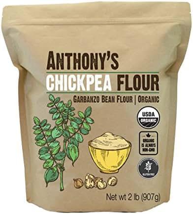 Anthony's Organic Chickpea Flour, Garbanzo Bean Flour, 2lbs, Gluten Free, Non GMO