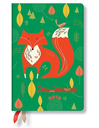 Paperblanks Agenda 2019 con marcapáginas. & Bolsillo Interior | zorro | Semana para Semana (Horizontal) | Mini (140 x 95 mm)