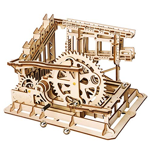 (ROBOTIME 3D Wooden Craft Kits Brain Teaser Games Mechanical Gears Set Cog Coaster with Steel Balls Best Buliding Toys for Adutls & Kids)