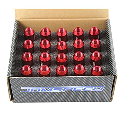 JDMSPEED Red 60MM Aluminum Extended Tuner Lug Nuts for Wheel Rims M12X1.5 20PCS: Automotive