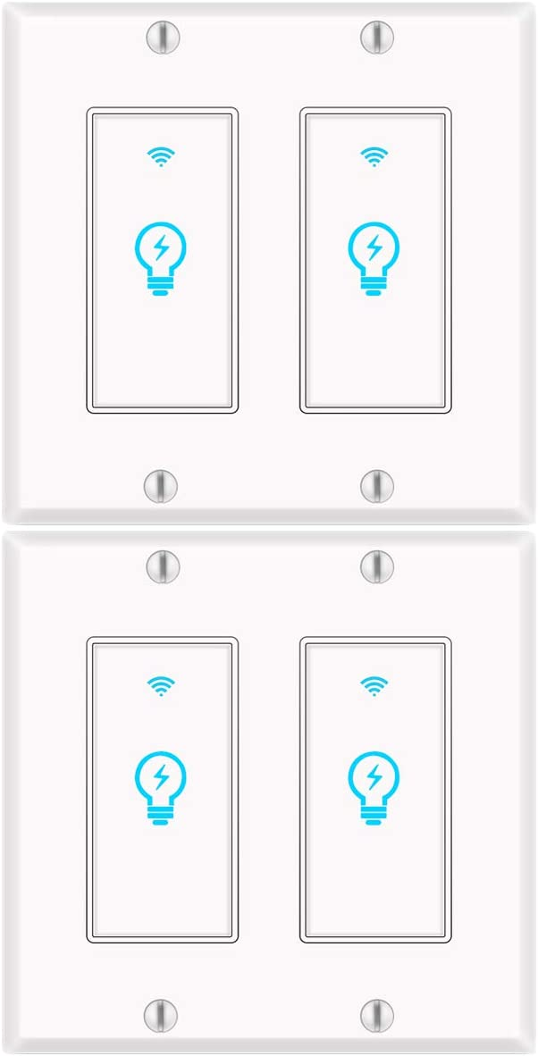 Smart Switch 2 Gang, WiFi Light Switch with Remote Control Double Light Switch Alexa Compatible and Google Home, Requires Neutral Wire 4Pack KULED