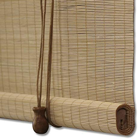 ZY Blinds Bamboo Window Blinds, Light Filtering Roll Up Blinds with Valance, 27 W x 36 L, Pattern 15