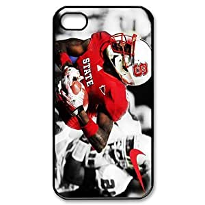 JIUBIE Hard Plastic Cover case 19 NCAA ACC North Carolina State Wolfpack Football Print Black Case With Hard Shell Cover for Apple iPhone 4/4S