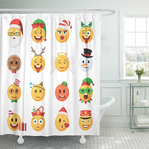 VaryHome Shower Curtain Yellow Holiday of Christmas Emoticons Festive Collection Characters Emoji Face in Cartoon Style on White Waterproof Polyester Fabric 72 x 78 Inches Set with ()
