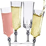 Clear Plastic Champagne Flute Set (12) – Classic Diamond Pattern Disposable Champagne Flutes, Cocktail Glasses & Mimosa Glasses – Champagne Glasses Set for Wedding, Engagement Party & Birthday Party