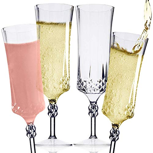 Clear Plastic Champagne Flute Set (12) - One Piece 9 oz Disposable Champagne Flutes, Cocktail Glasses & Mimosa Glasses - Champagne Glasses Set for Wedding, Engagement Party & Birthday Party