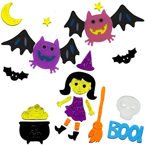 Halloween Window Clings Witch and Bats Gel Charms