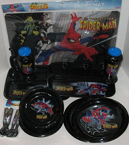Spider 3 Man Placemat (Spiderman Dinnerware Set for 2)