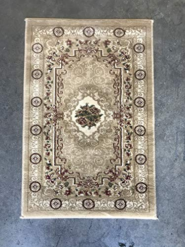 Traditional Door Mat Floral 500,000 Point Beige Burgundy-Ivory Green Aubusson Area Rug Design 403 (2 Feet X 3 Feet 4 Inch)