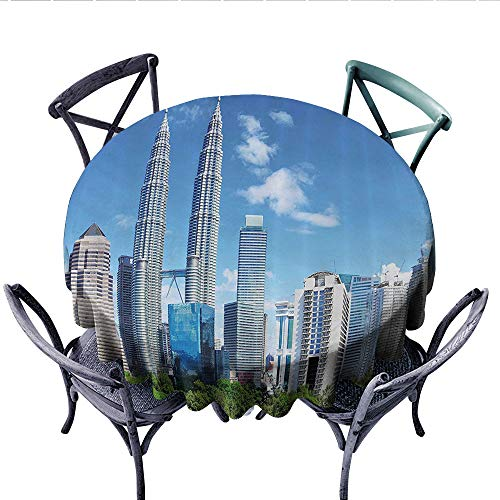 Urban Patterned Tablecloth Malaysian Kuala Lumpur Skyline Skyscrapers Capital City Corporate Panorama Waterproof Table Cover for Kitchen (Round, 70 Inch, Sky Blue Light Grey)