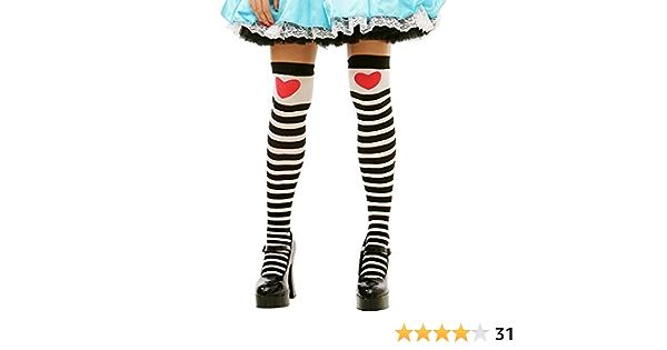 Childrens Kids Alice in Wonderland Tights Black White Striped 6-12 Years