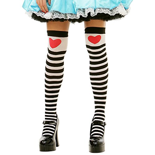 Alice in Wonderland Striped Tights for Women | Thigh-High Halloween Costume White]()