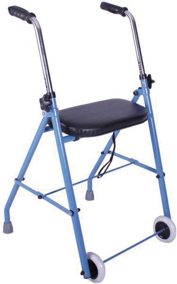 Andador de acero con dos ruedas y asiento acolchado | Ligero, plegable y seguro | Puños anatómicos y regulable en altura | Materiales de primera calidad | Peso máximo soportado 120 Kg