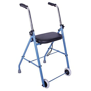 Andador de acero con dos ruedas y asiento acolchado | Ligero, plegable y seguro | Puños anatómicos y regulable en altura | Materiales de primera ...