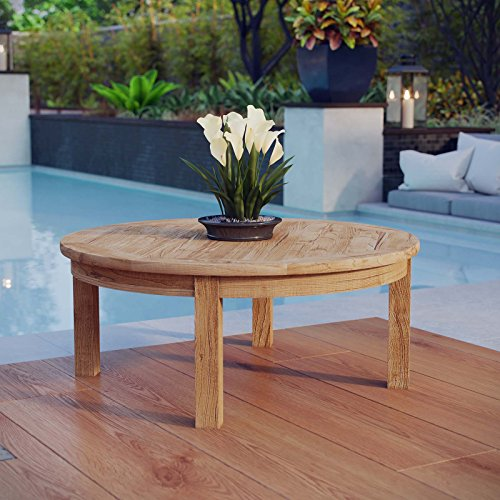 Modway Marina Teak Wood Outdoor Patio Round Coffee Table in Natural (Cottage Summer Furniture Patio)