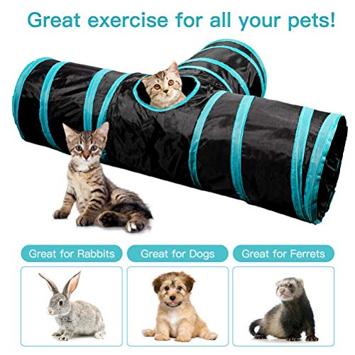Royal Cat 3 Way Metal Cat Tunnel, Collapsible Pet Toy with Ball (Single)