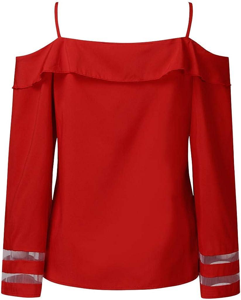 Meikosks Womens Off Shoulder T Shirt 3//4 Bell Sleeve Loose Tops Mesh Panel Blouse V Neck Tunic
