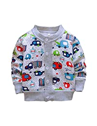 ESHOO Baby Girls Cardigan Long Sleeve Children Button Printing Sweater Uniform Sweaters for Little Girls