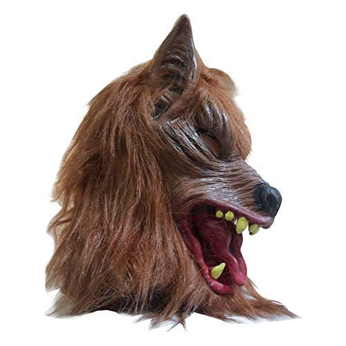 SUPOW Halloween Wolf Mask, Costumes Creepy Scary Full Face Werewolf Mask for Halloween and Cosplay Costume Party Horror Nights (Yellow)]()