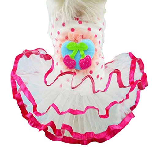 [Hunputa Pet Puppy Dog Cat Polka Dots Party Princess Tutu Dress Clothes Costume (XS(Chest11.8