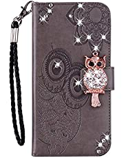 Amocase Wallet Case with 2 in 1 Stylus for Samsung Galaxy Note 20 Ultra,3D Bling Gems Owl Magnetic Mandala Embossing Strap PU Leather Card Slot Stand Case for Samsung Galaxy Note 20 Ultra - Gray