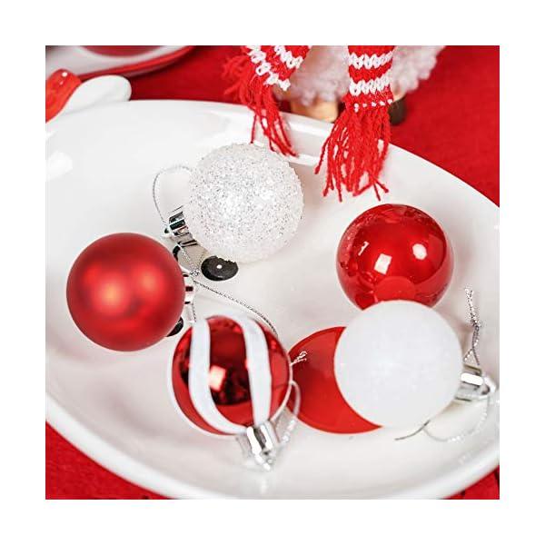 Valery Madelyn Palle di Natale 40 Pezzi 4 cm Palline di Natale, Decorazioni Tradizionali Rosse e Bianche Infrangibili con Palle di Natale per Decorazioni per Alberi di Natale 7 spesavip