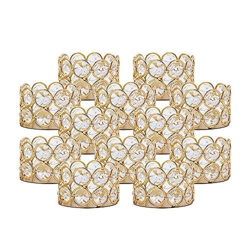 VINCIGANT Pack of 12 Gold Crystal Tea Light Candle Holders for Wedding Home Table Centerpiece Decor Decoration Gifts Boxed (Candle Excluded)