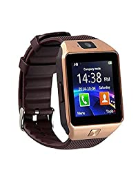 Qiufeng DZ09 Smart Watch Smartwatch Bluetooth Sweatproof Phone with Camera TF/SIM Card Slot for Android and IPhone Smartphones for Kids Girls Boys Men Women(Golden)