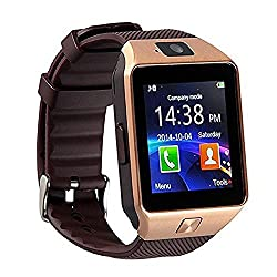 Dz09 Bluetooth Smart Watch Touch Screen With Camera, Sim Card Tfsd Card Slot, Pedometer Activity Tracker For Iphone Android Phones Samsung Huawei Pk Gt08 A1 (Gold)