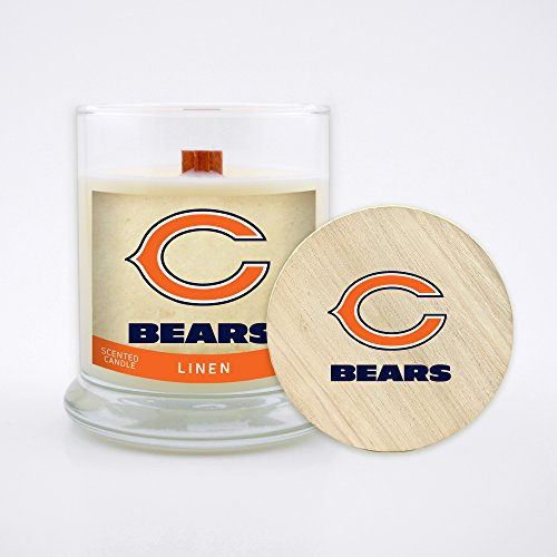 Worthy Promo (WORV3) NFL Chicago Bears Linen Scented Soy Wax Candle, Wood Wick and Lid, 8 (Bears Nfl Candle)