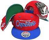 Washington Capitals Script Red/Blue Two Tone Plastic Snapback Adjustable Plastic Snap Back Hat / Cap