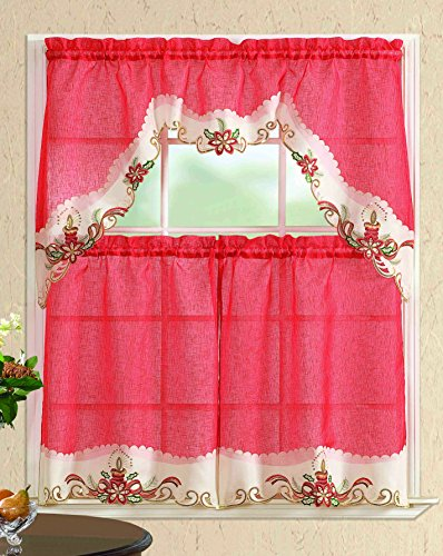 All American Collection New 3pc Christmas Holiday Design Embroidered Kitchen Curtain Set (Flower, Red/Beige)