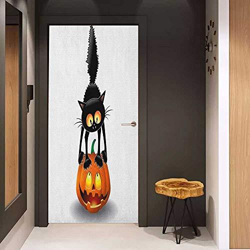 Door Wallpaper Murals Halloween Black Cat on Pumpkin Drawing Spooky Cartoon Characters Halloween Humor Art WallStickers W36 x H79 Orange Black]()