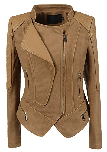 chouyatou Women's Fashion Faux Suede-Pu Leather Quilted Biker Jacket (Small, Camel)