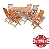 Outdoor Dining Set Wooden Table Patio Folding Chairs Furniture Set Of Seven & E book By Easy2Find