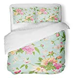 Emvency 3 Piece Duvet Cover Set Breathable Brushed Microfiber Fabric French Vintage Peony Flowers Floral Shabby Chic Pattern in Girl Baby Wedding Bedding Set with 2 Pillow Covers Full/Queen Size
