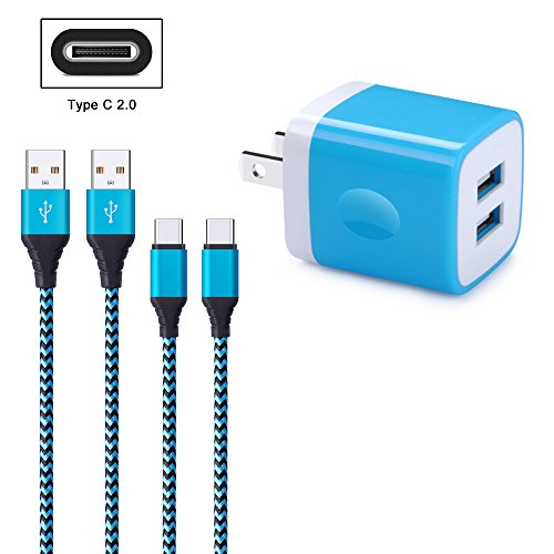 FiveBox 2Pack 6ft USB Type C Cable Cord Phone Charger Compatible S9, LG Stylo 4, Google Pixel 2/3 XL, LG V20 V30 G5 G6 G7, Moto X4/ Z2 Play, with 2.1A Dual Port USB Wall Charger Box Charging Block