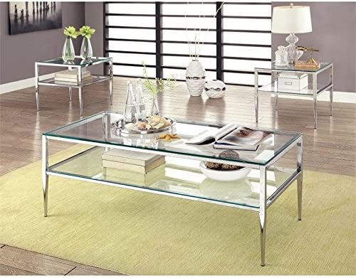 Furniture of America Venzini 3-Piece Metal Coffee Table Set in Chrome