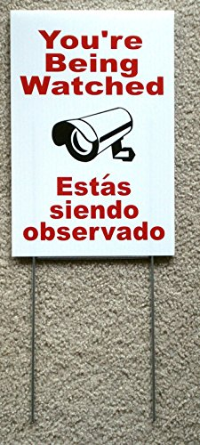 1 Pc Majestic Unique You're Being Watched Sign CCTV Warning Monitored Under Cameras Protected Burglar Poster Video Hr Surveillance Reflective Decals House Trespassing Size 8'x12' w/ Stake Spanish