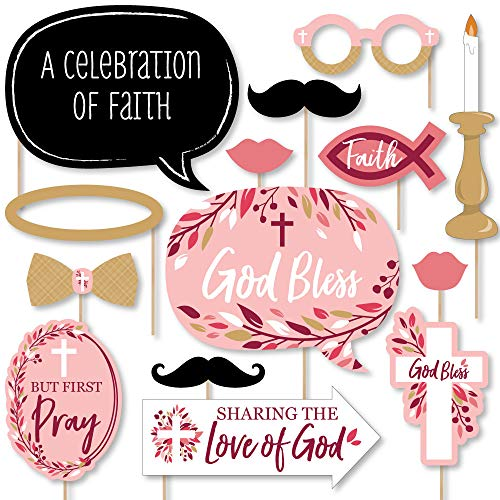 Pink Elegant Cross - Girl Religious Party Photo Booth Props Kit - 20 -