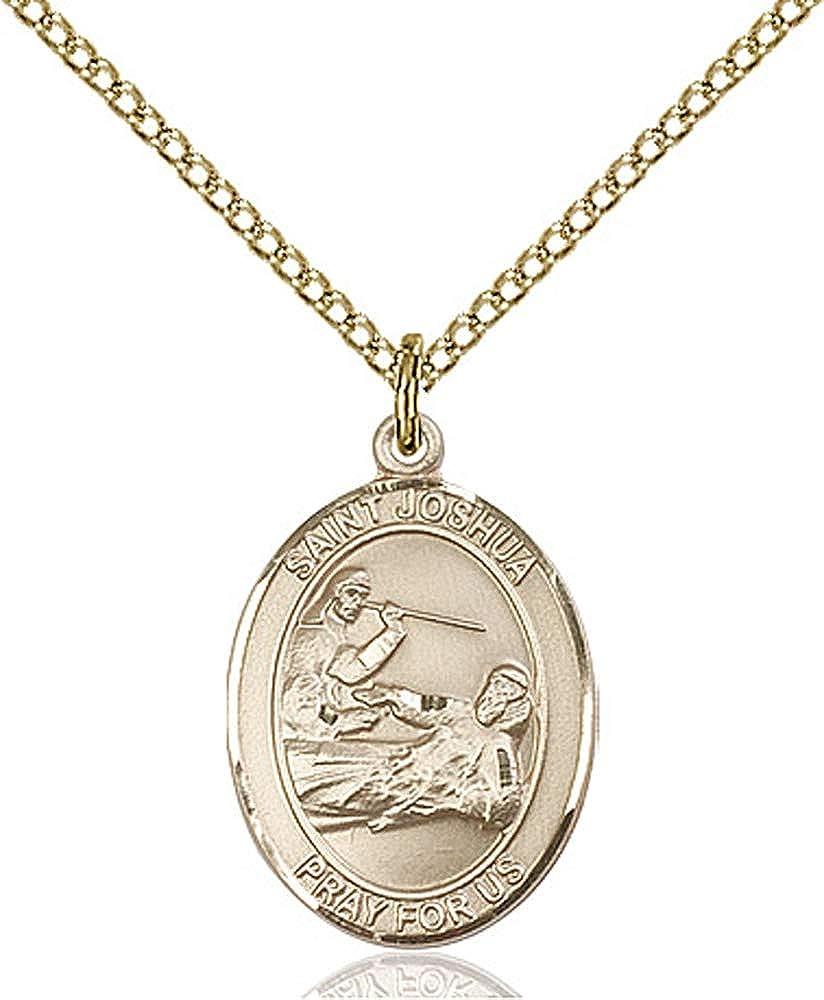 14kt Gold Filled St Joshua Pendant Gold Filled Lite Curb Chain Patron Saint Those Named Joshua 3//4 x 1//2