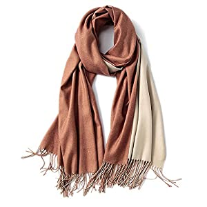 FORTREE Cashmere Feel Scarf – Lightweight Scarfs for Women, Large Soft 2 Tone Shawls and Wraps (10 Colors Available)