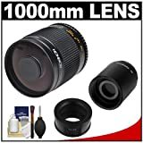 Rokinon 500mm f/8.0 Mirror Lens (T Mount) with 2x Teleconverter (=1000mm) + Cleaning Kit for for Samsung NX20, NX200, NX210 and NX1000 Digital Cameras, Best Gadgets