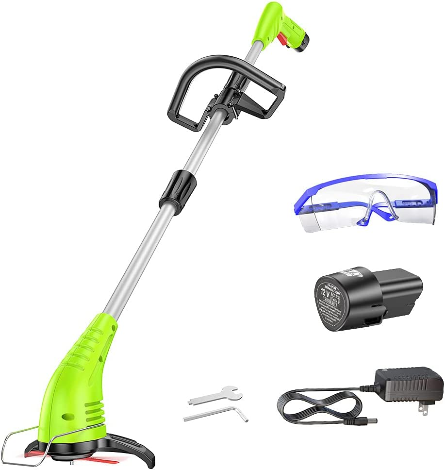 GardenJoy String Trimmer,12V Cordless Trimmer Lawn with Cutting Blade, 2.0Ah Lithium-ion Edger Battery Powered & Electric Grass Trimmer ,Adjustable Handle and Height for Weed Wacker,Yard and Garden