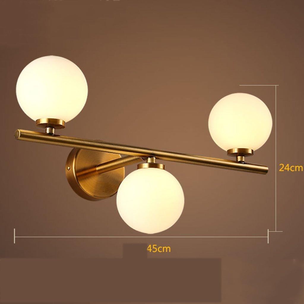 Fenciayao ソリッドウッドミラーヘッドライト浴室クリエイティブウォールランプ化粧台ランプ防水霧浴室アクセサリー (サイズ : 3 head) 3 head  B07RJS2GY2