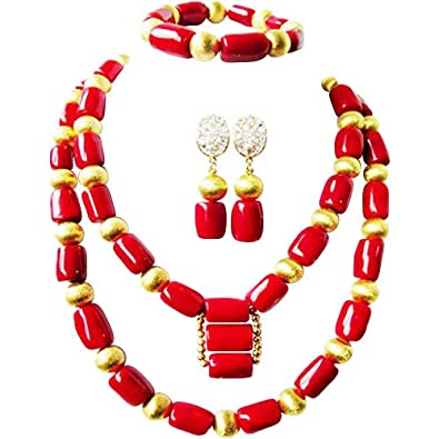 c503c9adad Amazon.com: laanc Coral Tube Beads Natural 2-3 Layers Red and Gold ...