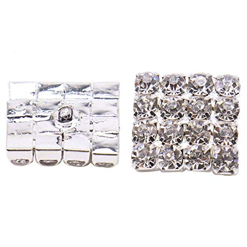 (Monrocco Pack of 12 pcs Square Rhinestone Buckle Buttons for Sew On Buttons with Shank)