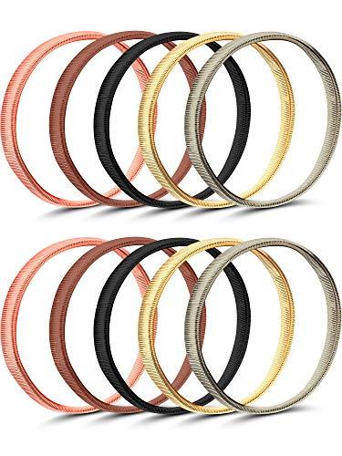 Pangda 5 Pairs Shirt Sleeve Holders Anti-slip Arm Sleeve Garters Metal Stretch Elastic Metal Armbands (Multicolor -